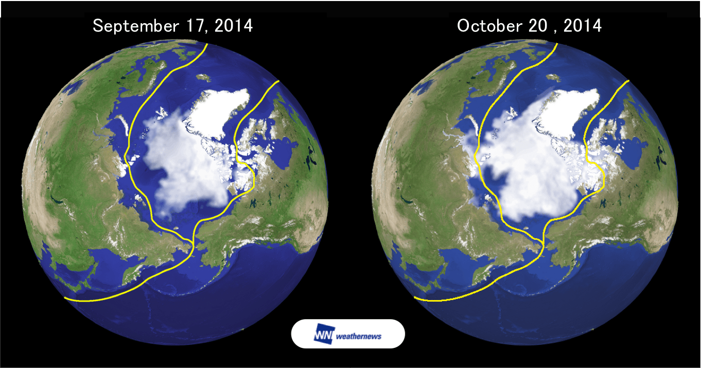 Figure 1: Comparison of lowest recorded ice extent of 2014 and current conditions.