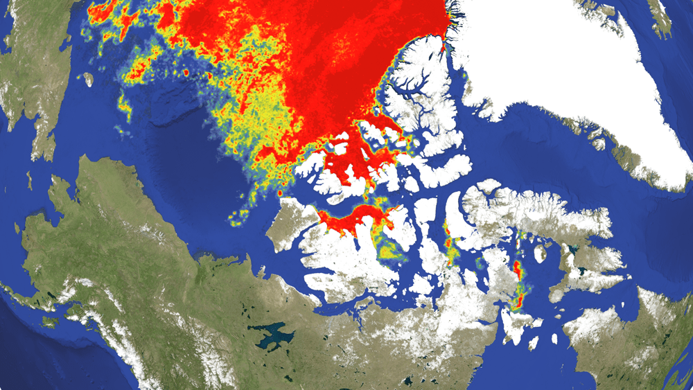 Sea ice condition in the North West Area of the Arctic Oceann(Analyzed by WNI Global Ice Center)