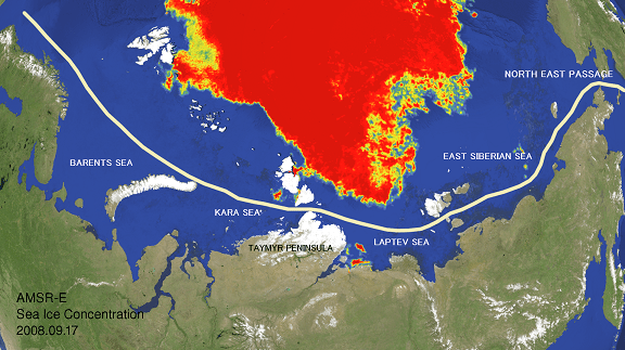 Sea ice condition in the NE Passage of the Arctic Oceann(Analyzed by WNI Global Ice Center)