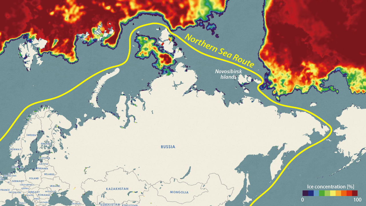 Analysis results as of August 21st confirming the Northeastern passage open to vessels