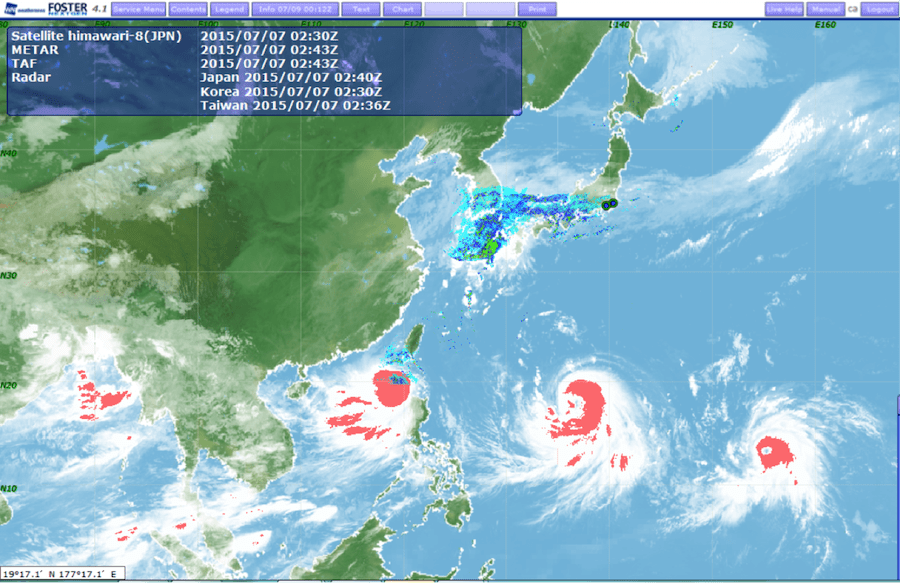 Cumulonimbus cloud area shown on July 7th.nRed areas indicate convective cells developing within n3 typhoons.