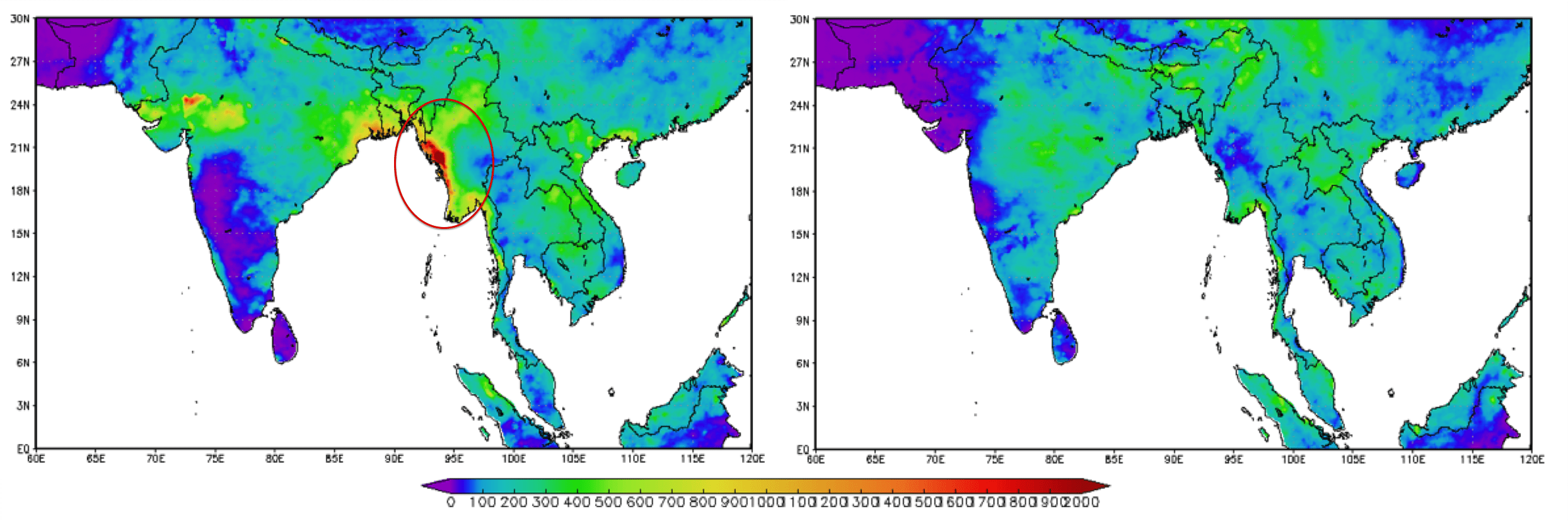 Fig. A: Rainfall Estimates July Fig. B: Rainfall Estimates