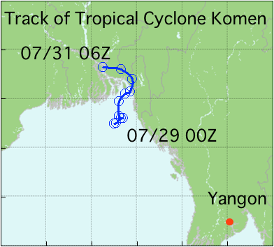 Track of Tropical Cyclone Komen