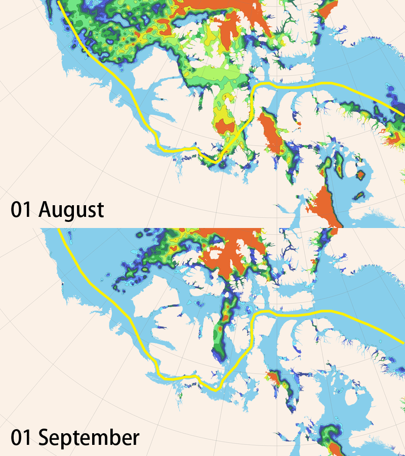 Image of Conditions in the Northwest Passage (Above: As of August 1st, Below: As of September 1st)