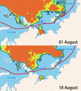 Image of Conditions in the Northeast Passage(Above: As of August 1st, Below: As of August 18th)