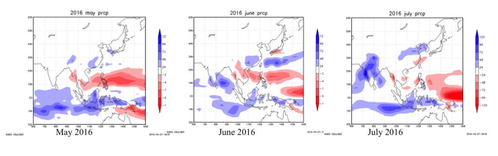 Figure 6: Monthly precipitation anomaly forecast through July (Created by Weathernews using JMA data)