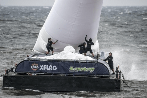 Crews struggle to support sea pylons on Saturday, June 4th Source: Red Bull Content Pool