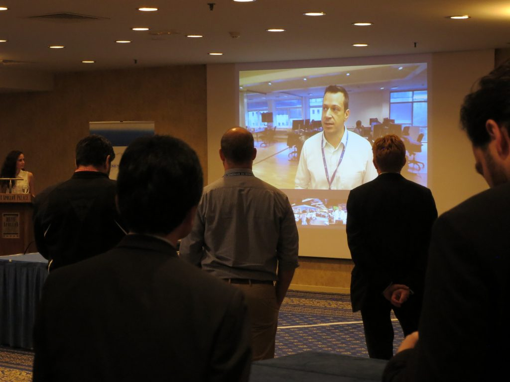 Image of live simulcasting from Weathernews Global  Operations Centers in America, Denmark and Japan
