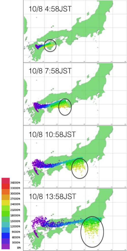 Fig 1. Volcanic ash diffusion forecast of Weathernews Terrestrial Phenomena Center Yellow: The forecast of the altitude about 8,000m