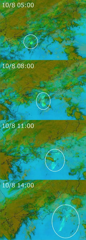 Fig 2.  Volcanic ash image analysis from Himawari-8 Satellite's three-band infrared sensors