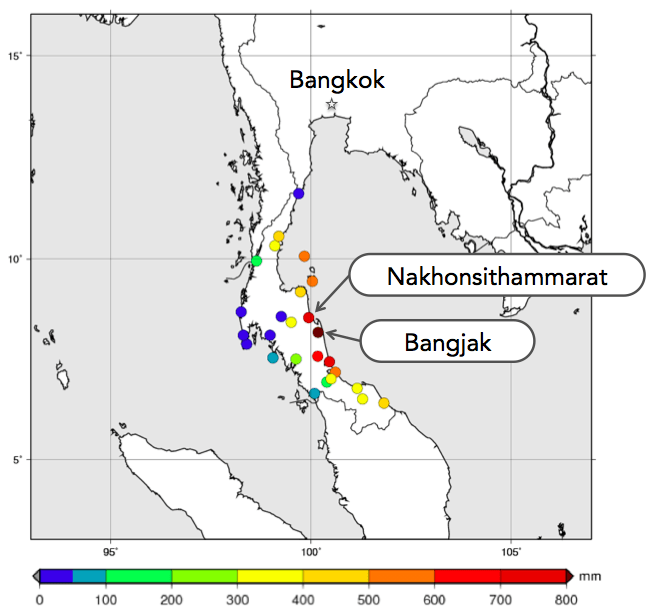 Figure 1: Accumulated rainfall over Thailand from December 1st through 7th (Source: Thai Meteorology Department)