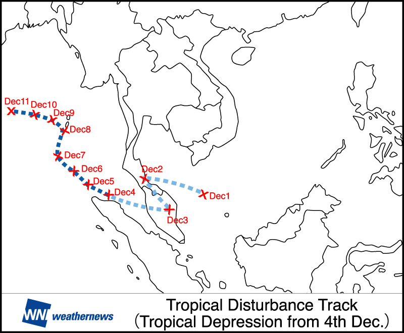 Figure 4:  Path of tropical disturbance from December 1st to 11th, 2016. (Change to tropical depression on Dec. 4th)