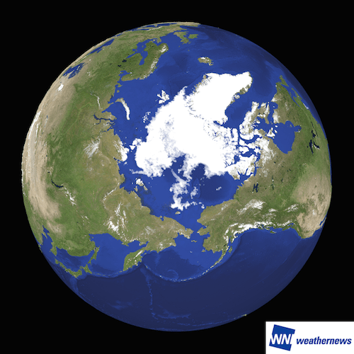Figure 1: The year's smallest sea area covered with ice on September 7th, 2016