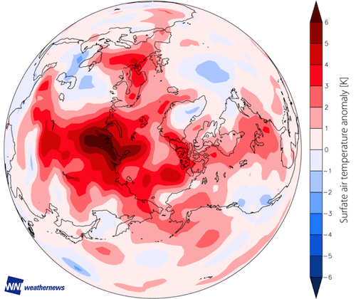 Figure 3: The monthly averaged air temperature anomaly in September 2016