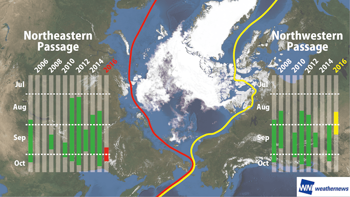 Figure 5: Sea ice analysis result made by the GCOM-W passive microwave observation satellite (left) and the satellite image taken by the Terra visible-light satellite (right) of the Laptev Sea in the Arctic on September 16th